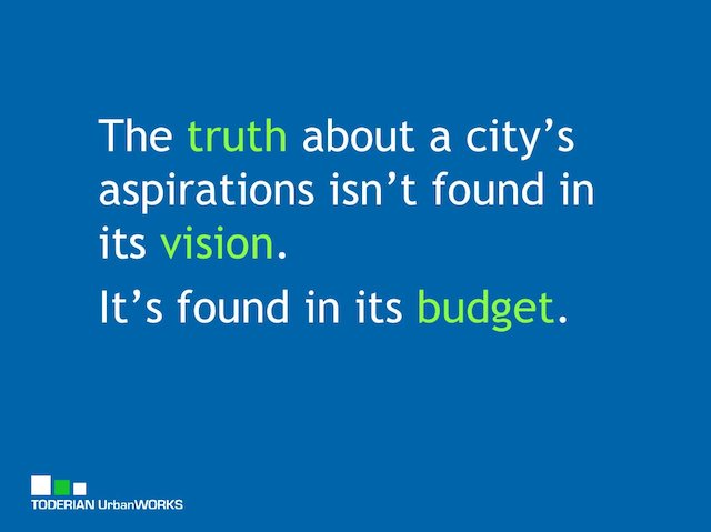 The truth about a city's aspirations isn't found in its vision. It's found in its budget.